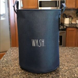 🆕 Rae Dunn Denim Blue WASH. Laundry Basket